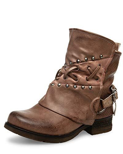 Caspar SBO090 Damen Vintage Gamaschen Boots, Farbe:Khaki, Größe:39 EU
