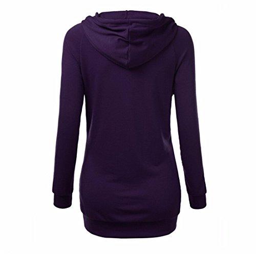 Neuer Frauen beilaeufige Baumwollkapuzenpulli Langarm T Shirt Tops Lila