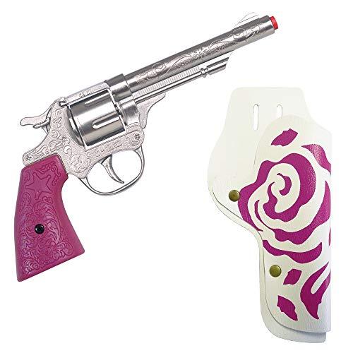 Das Kostümland Gonher 180/2F Cowgirl Western Pistole - Gun Rosse - Silber Pink - Wilder Westen Junggesellinnenabschied Karneval
