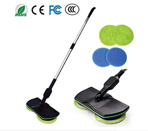SMACO Elektronischer Drahtloser Mopp, 3 in 1 Drahtloser Spin-Boden-Reiniger für alle Oberflächen - Handspinnender Mopp-Wieder Aufladbare angetriebene Boden-Reiniger-Wäscher -