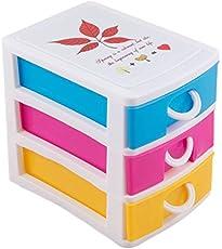 Krevia 3 Layers Desktop Office Plastic Storage Drawer Cosmetic Makeup Organizer Box