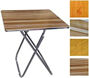 In-House Folded Table with Aluminum FramIn-House Folded Table with Aluminum Frame 60x60 cm Square, Assorted Co
