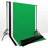 Kit support de fond 2m x 3m pour studio photo Mousseline Backdrop + 3* toile de fond 100% coton (blanc, noir et vert) 2.8x1.8m + sac de transport oxfo