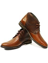 b0c5e8b51c99 Modello Sergio - Handgemachtes Italienisch Leder Herren Braun Stiefeletten  Chukka Stiefel - Rindsleder Weiches Leder -