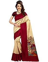 Vatsla Enterprise Women's Cotton Silk Natural Print Saree With Free Blouse Piece(VDSNNO05)