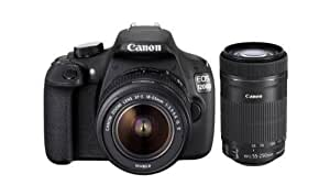 Canon EOS 1200D 18MP Digital SLR Camera (Black) with 18-55mm and 55-250mm IS II Lens,8GB card and Carry Bag