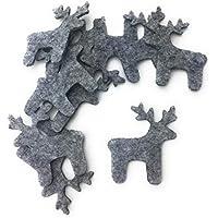 Bastelfilz Figuren Set - Elch - Filz, Farbe: grau meliert - Textilfilz, Streudeko, Winterdeko, Weihnachten