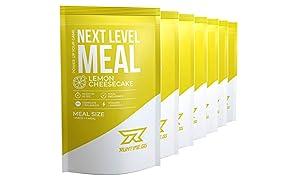Runtime Next Level Meal Lemon Cheesecake - vollwertiger Mahlzeitersatz für langanhaltende Sättigung, Energie, Konzentration und Leistungsfähigkeit, mit Vitaminen und Nährstoffen, 7x 150g