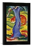 Gerahmtes Bild von Franz Marc Katze hinter einem Baum, Kunstdruck im hochwertigen handgefertigten Bilder-Rahmen, 30x40 cm, Schwarz matt