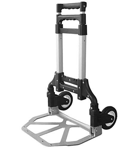 Diable Pliable Portable Heavy Duty Cadre en Aluminium Pliant Convertible Chariot À Bagages À Deux Roues, 2 Couleurs (Couleur : Noir)