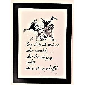 """""""Das habe ich noch nie."""" Bild, handgemaltes Original, Aquarell, schwarz-weiß, hygge, Din A4, Geschenkidee z.B. für Muttertag, Vatertag, Valentinstag, Pippi Langstrumpf-Spruch, Motivation, MIT Rahmen"""