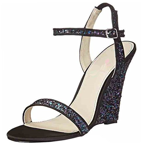 ENMAYER Femmes Glitter Platform Strappy Sangle de la Cheville Ouvert Toe Talons Hauts Party Wedding Dress Sandales Bleu(coin)