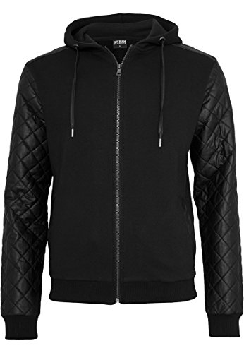 TB824 Diamond Leather Imitation Sleeve Zip Hoody, Größe:S;Farbe:blk/blk