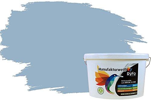 RyFo Colors Bunte Wandfarbe Manufakturweiß Taubenblau 10l - weitere Blau Farbtöne und Größen erhältlich, Deckkraft Klasse 1, Nassabrieb Klasse 1