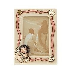 Idea Regalo - THUN K2939H93 Portafoto Angel Girl, Ceramica, Rosa Soft, 18 x 21 x 5.9 cm