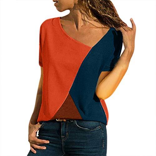 TWIFER Sommer Damen Tee Shirt O Ausschnitt Lässig Kurzarm Patchwork Gestreiftes Oberteil T-Shirt