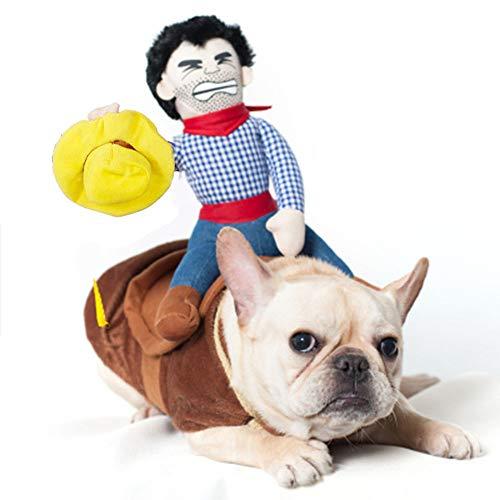 GYJ Qualitäts-Haustier-lustiges Kostüm, Cowboy-Mitfahrer-Neuheit kleidet Partei-Abendkleid für Hunde und Katzen-Halloween-Klage,S