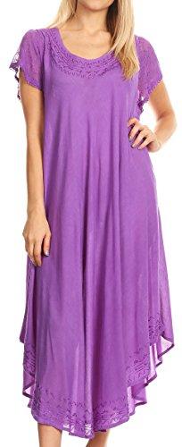 Sakkas 00931 täglichen Bedarfs Kappe Kaftan Kleid Hülse oder Vertuschung für Damen-Lila-einer Größe (Krepp Batik)
