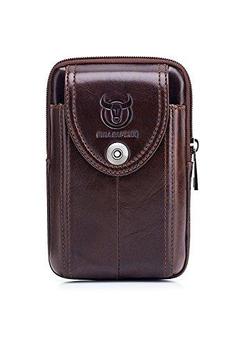 WeeDee Riñonera Hombre Cuero Bolsa Bolso de Cintura Cinturón Bolsillo Cartera Funda para 4~6 Pulgada Smartphone iPhone 8/7/6/Plus Samsung Galaxy S8 Note 8