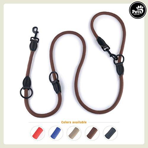 Pets&Partner Hundeleine aus Nylon/Doppelleine / Geflochten in Verschiedenen Farben für mittelgroße bis große Hunde Farblich Passend zu Halsband und Geschirr, Braun