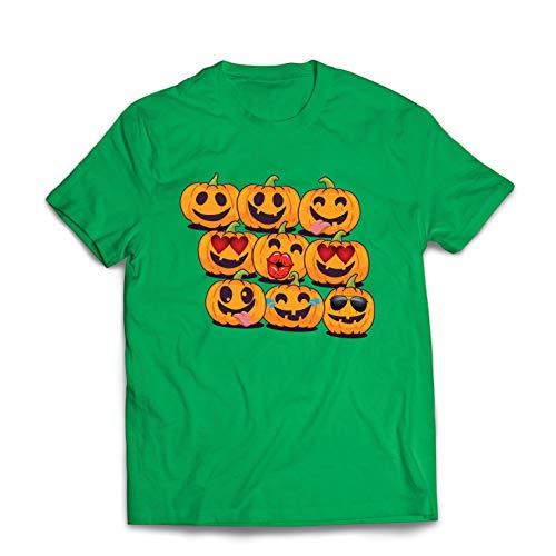 lepni.me Männer T-Shirt Kürbis Emoji Lustiges Halloween-Party-Kostüm (Medium Grün Mehrfarben)