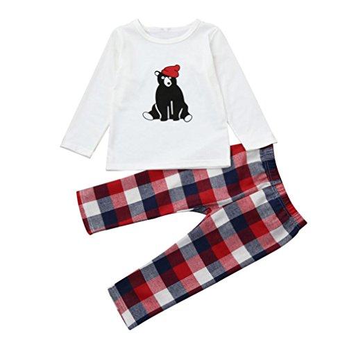 Neugeborenen Bekleidung Set Unisex Baby Longra Baby Hosen & Top Sets für Mädchen Jungen Bär t-shirt Tops Langarmshirts +Lang Hosen Plaid Hosen WEIHNACHTEN Baby Pyjamas Set (120CM 4Jahre, White) Jungen Pyjama-set 5t
