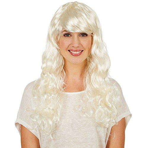 Frauenperücke Weißblond lang | Lange, wundervolle Lockenpracht | Moderner (Kostüme Halloween Viktorianische Themen)