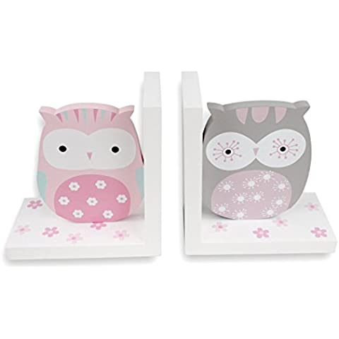 Hoddmimis Home & Living Wooden Bookends for Kids (Owls Themed,Set of 2) - Metal Silver Desk Clock