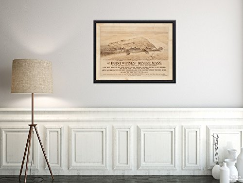 New York Map Company 1880 Karte Revere The Point of Pines, Revere, Mass : On The Atlantic Ocean, Eight Miles North East of - Historische Antike Vintage Reprint - fertig zum Einrahmen - County England-antik-karte