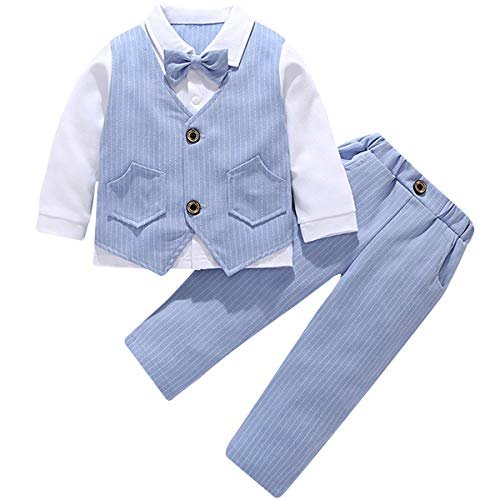 famuka Baby Junge Anzug Kinder Smoking Taufe Hochzeit Babykleidung (Blau, 9-12 Monate)