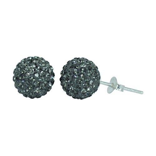 Chic-Net Glitzerkugel grau Black Diamond 10 mm Kristall Ohrstecker Ohrringe 925er Silber Damen Schmuck