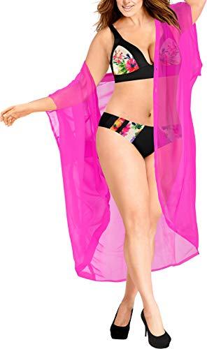 LA LEELA Damen Sommer Boho Chiffon Kimono Stil Plain Tops Jacke Cardigan Blusen Beachwear Rosa_O974 DE Größe: 42 (L) - 52 (4XL) -