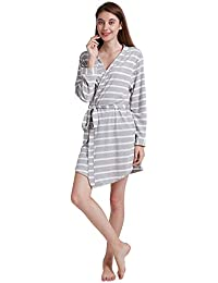 ENIDMIL Bata para Mujer Algodón - Albornoz de Kimono de Mujer Corto - Ropa de Dormir