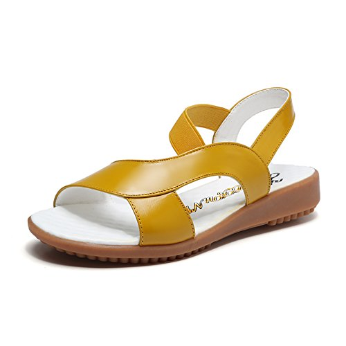 Sommer Damen Mode Sandalen komfortable High Heels, 37 Blau Yellow