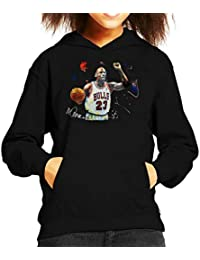 Sidney Maurer Original Portrait of Michael Jordan Chicago Bulls Basketball Kids Hooded Sweatshirt