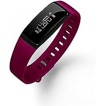 Inteligente aptitud del reloj podómetro medirse la tensión arterial monitor del ritmo cardíaco de la correa de Smart Call Mensaje recordatorio SmartWatch impermeable para Android IOS , purple
