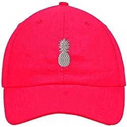 Plata Piña bordado suave sombrero gorra de béisbol no estructurados