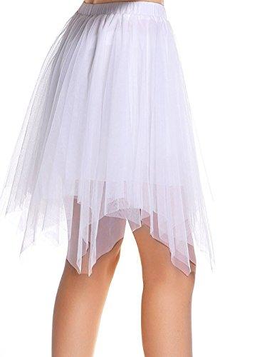 AMORETU Kurze Röcke Damen A-Linie Knie Länge Blase Krinoline Unterröcke Tüll Rock weiß