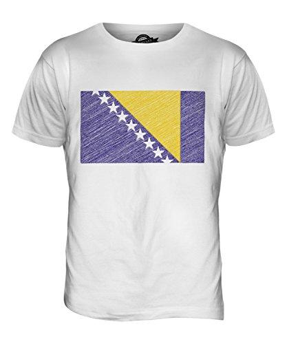 CandyMix Bosnien Und Herzegowina Kritzelte Flagge Herren T Shirt Weiß