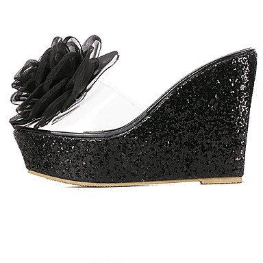 LvYuan Sandalen-Kleid-Gummi-Keilabsatz-Club-Schuhe-Schwarz Rosa Weiß Black