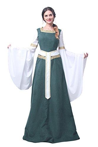 Nuoqi® Damen mittelalterliche Königin Kleid Langarm Maxi Kleid Party Kostüm (XXL, GC216A-NI-FBA) (Für Merida Frauen Kostüm)