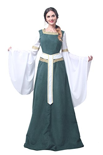 Kostüm Disney Merida - Nuoqi® Damen mittelalterliche Königin Kleid Langarm Maxi Kleid Party Kostüm (XXL, GC216A-NI-FBA)