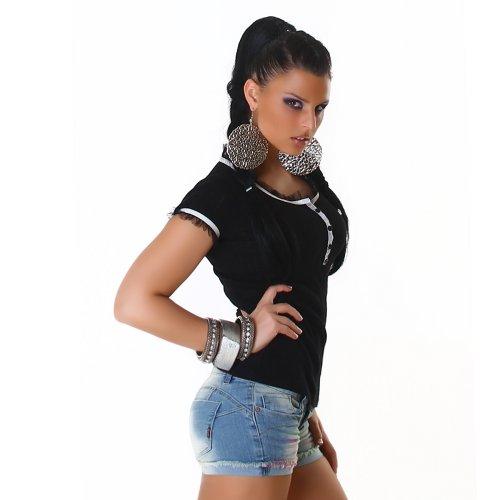 Damen Top Shirt Blusenshirt Onesize trendige Farben Schwarz