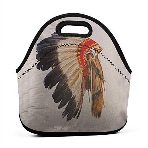 Bunny Maskottchen Kostüm (Bidetu Indianer Häuptling Kopfschmuck Maskottchen Kostüm Tribal Feather Lunch Bag Kühltasche Frauen Einkaufstasche Isolierte Lunchbox Thermo Lunch Bags für)