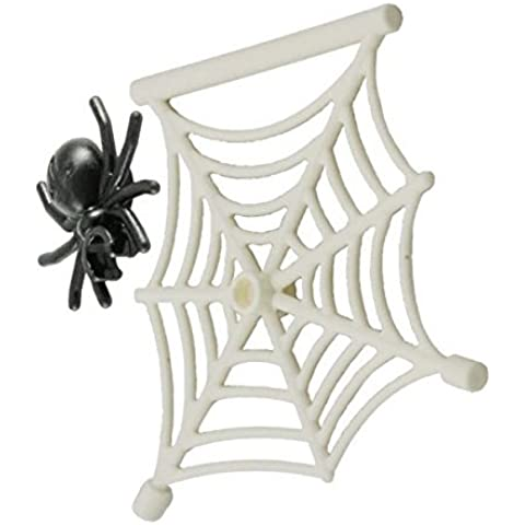 Lego Parts: Creepy Crawly Bundle Pack (1) White Hanging Spider Web & (1) Spider by Parts/Elements - Animals,