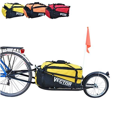 PAPILIOSHOP VECTOR Fahrradanhänger anhänger schwarz fahrrad lastenanhänger transportanhänger fahrradlastenanhänger mit tasche gelb einrad trasport gepäckanhänger