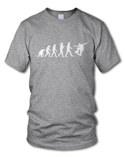 shirtloge - EVOLUTION SKATER - KULT - Fun T-Shirt - in verschiedenen Farben - Größe S - XXL Grau-Meliert (Weiß)