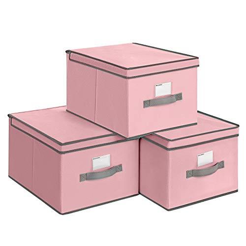 SONGMICS Faltboxen, 3er Set, Aufbewahrungsboxen mit Deckel, Stoffboxen mit Etikettenhalter, Aufbewahrungskörbe, Spielzeug-Organizer, 40 x 30 x 25 cm, rosa RFB03PK