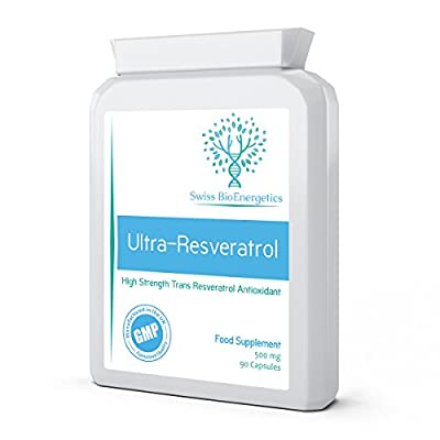 Ultra-Resveratrol 500mg 90 Capsules - High Strength 250mg Trans Resveratrol - High Potency Targeted Release Antioxidant and Anti-Ageing Supplement, same effects as Red Wine Polyphenols, Grape Seed and Blueberry Extract