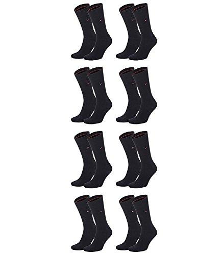 TOMMY HILFIGER Herren Classic Casual Business Socken 8er Pack  ( Black , 43-46 )
